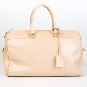 SAINT LAURENT 12 HOUR DUFFLE LARGE LEATHER SATCHEL